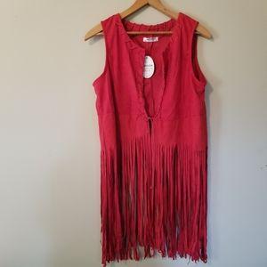 NWT Fringe Ruby Faux Suede Vest Size Medium